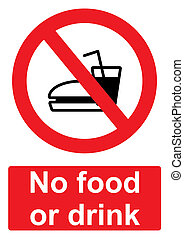 Red Prohibition Sign isolated on a white background - No food or drink