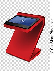 Red Promotional Interactive Information Kiosk Terminal Stand Touch Screen Display. Mock Up Template.
