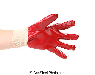 Red protective glove. Isolated on a white background.