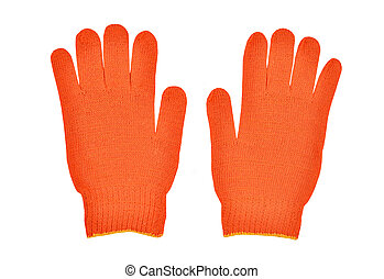 Red protective glove - Red workwear glove, isolated on white...