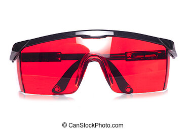 red protective safety glasses studio cutout