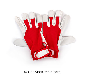 red protective work gloves on white background. top view
