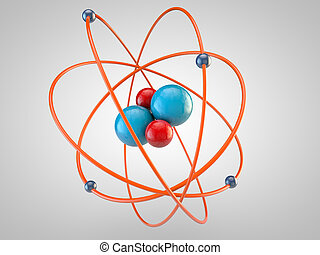 red Protons and blue neutrons surounded by electrons
