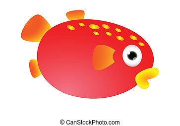 Red puffer fish cartoon