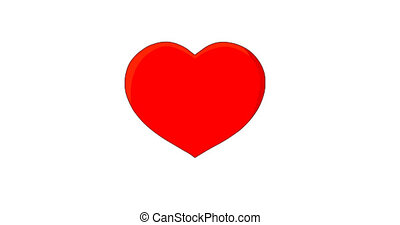 Red pulsing, beating heart on white. Symbolizes Love, infatuation or heart health. Cardiology of a healthy heart.