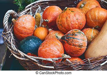 Red pumpkins in a wicker basket