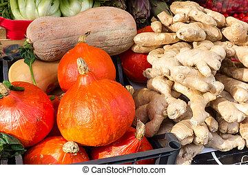 Red pumpkins in market