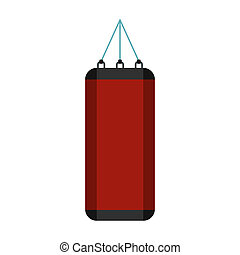 Red punching bag for boxing icon, flat style