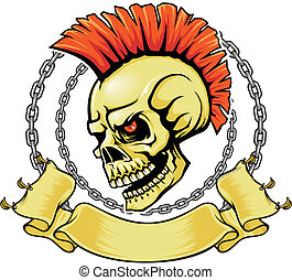 red punk skull - brown skull with red punk hairstyle and...