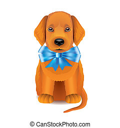 Red puppy with blue bow vector illustration