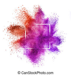 Red purple powder explosion in a frame on a white background.