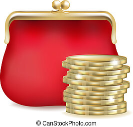 Red Purse And Money, Isolated On White Background, Vector...