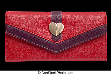 red purse on a black background