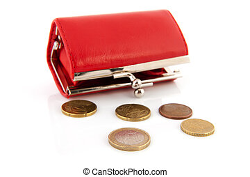 Red purse with euro coins