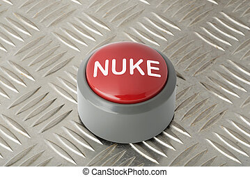 Red Push Button Labeled 'Nuke' on Aluminum Diamond Plate Background