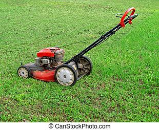 Push Lawnmower - Red Push Lawnmower in Grass