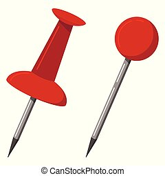 Red push office map pin markers icon set isolated on white background.