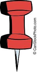 Red push pin icon cartoon