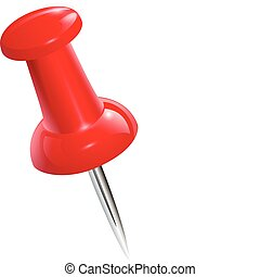 push pin - Red push pin isolated, vector.