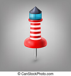 Red push pin lighthouse isolated, vector.