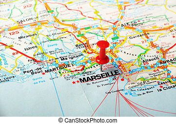 Red Push Pin Pointing At Orleans France Map And A Taxi Stock Image - Orleans france map