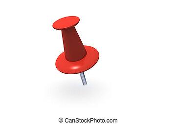 Red Push Pin - Red push pin 3D illustration on white...