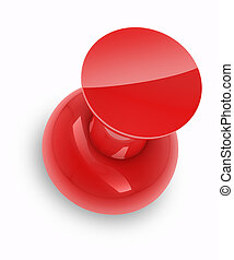 Red push pin with shadow isolated on white background.