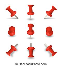 Red push pins isolated on white background. Office thumbtacks or pushpins vector illustration