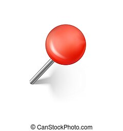 Red push pins with shadow. Realistic office push pin. Vector illustration