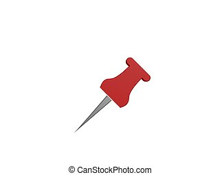 red pushpin symbol isolated on white background