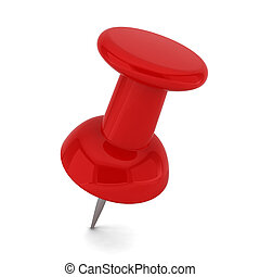 Red pushpin. 3d illustration on white background