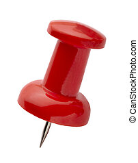 Close up of red pushpin shot on white background