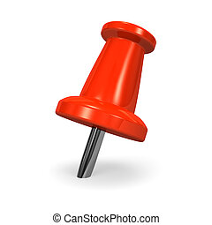 Red Pushpin. 3D render illustration. Isolated on White.
