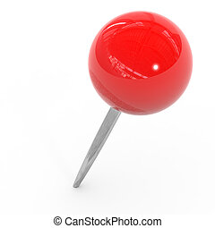 Red pushpin on a white background. Computer generated image.