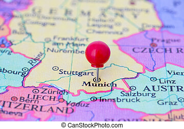 Red Pushpin on Map of Germany - Round red thumb tack pinched...