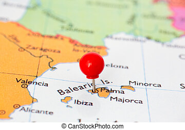 Round red thumb tack pinched through city of Palma, Majorca on Spain map. Part of collection covering many major capitals and cities of Europe.