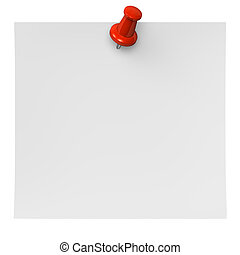 Red Pushpin On Paper. 3D render illustration. Isolated on...