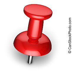Red pushpin - Red office pushpin or thumbtack for business...