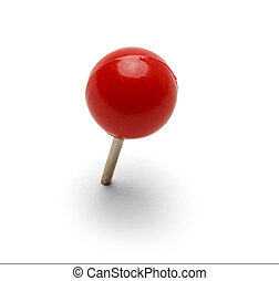 Red Pushpin - Round Red Thumb Tack Pushpin Isolated On White...