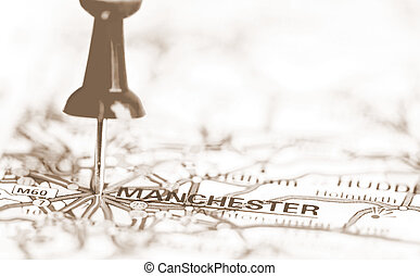 Manchester City On Map, United Kingdom