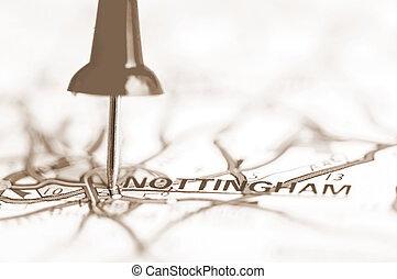 Nottingham City On Map, United Kingdom