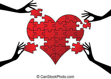 red jigsaw heart with hands, vector background