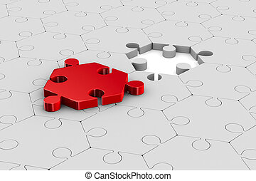 Red puzzle on white background. Isolated 3D illustration