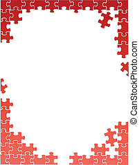 red puzzle pieces border template illustration