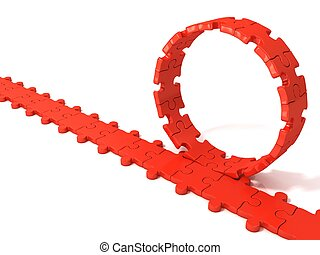 Red puzzle ring rotating
