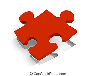 Red Puzzle Solution - 3D Illustration. Isolated on white.