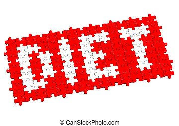 Red puzzle with word diet