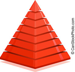 Red pyramid design element isolated on white background.
