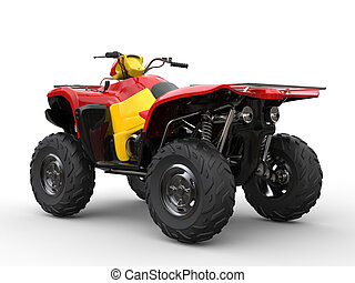 Red quad bike with yellow side panels - back view