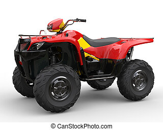Red quad bike with yellow side panels